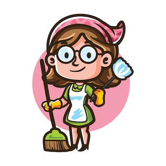 Cartoon glases maid