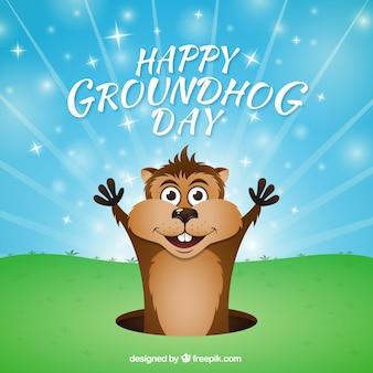 Cartoon groundhog day background