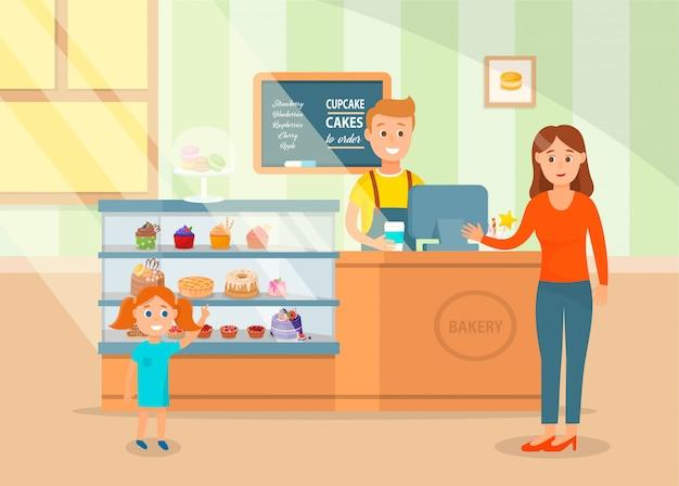 Cartoon happy mom e little daughter scelgono la torta