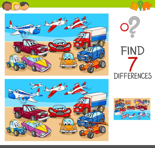 Cartoon illustration of differences gioco per bambini