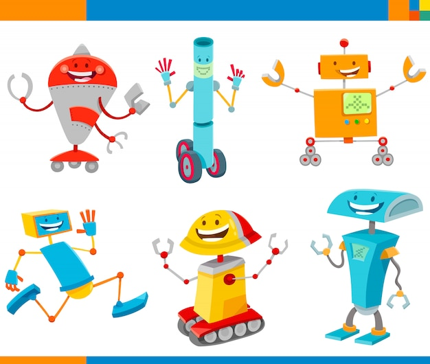 Cartoon illustrazioni di robot fantasy caratteri set