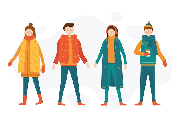 Cartoon indossando abiti invernali