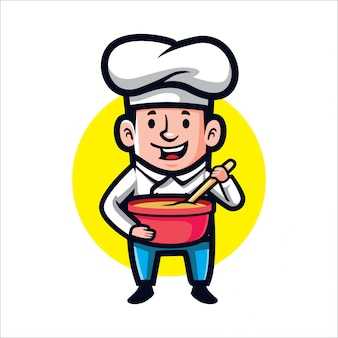 Cartoon kid cook