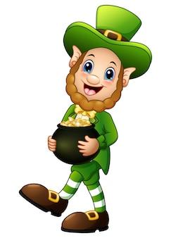 Cartoon leprechaun in possesso di una pentola d'oro