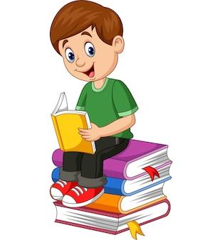 Cartoon little boy reading book