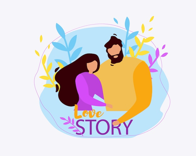 Cartoon man and woman together, couple hug love story