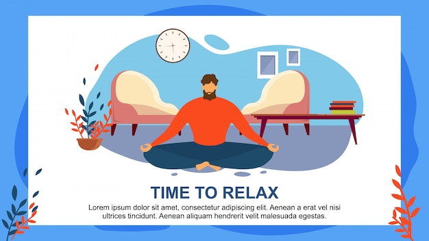Cartoon man meditate home sit at living floor