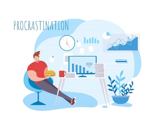 Cartoon man procrastination at work. illustrazione vettoriale di cibo pausa caffè. impiegato maschio pigro mangia.