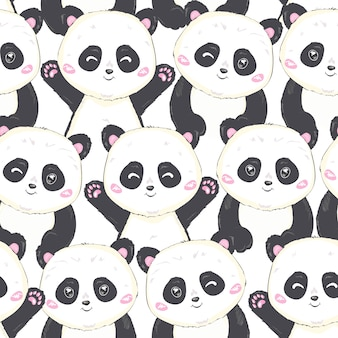 Cartoon panda seamless pattern
