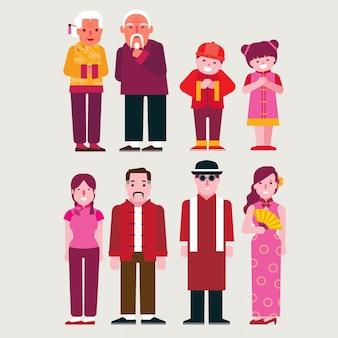 Cartoon persone cinesi