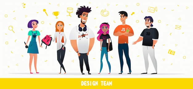 Cartoon persone design team personaggi stile piatto