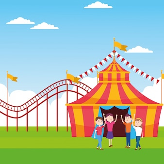 Cartoon persone in fiera su tenda e montagne russe