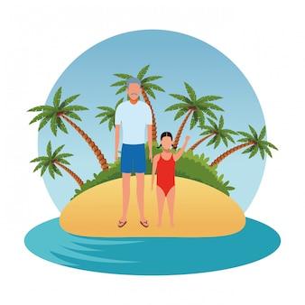 Cartoon persone in vacanza estiva