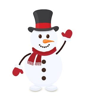 Cartoon pupazzo di neve, allegro personaggio di natale
