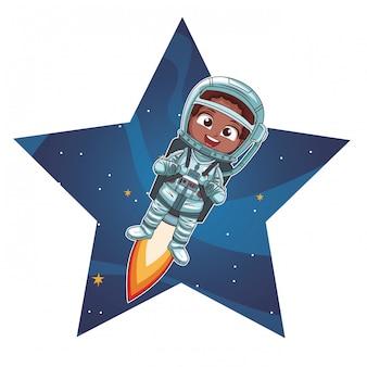Cartoon ragazzo astronauta