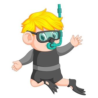 Cartoon ragazzo snorkeling