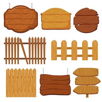 Cartoon recinzione da giardino in legno.