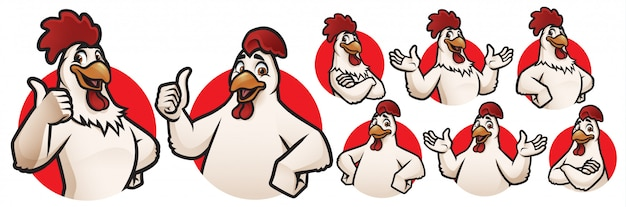 Cartoon rooster and chicken mascot per logo collection