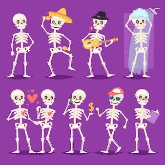 Cartoon scheletro ossuto personaggio musicista messicano o bella coppia con teschio e ossa umane illustrazione scheletro set di morti che ballano o fanno il bagno sullo sfondo