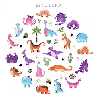 Cartoon set di dinosauri in stile scandinavo