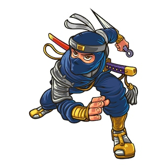 Cartoon silent ninja mascot