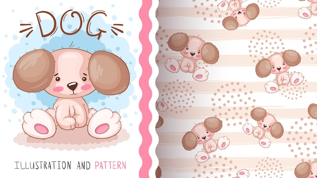 Cartoon teddy dog - seamless pattern