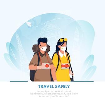 Cartoon tourist uomo e donna indossano maschere protettive su blue line art famosi monumenti di sfondo per viaggiare in sicurezza, evitare la pandemia di coronavirus.
