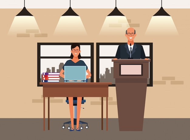 Cartoon uomo d'affari e imprenditrice