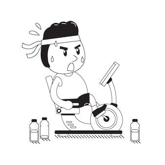 Cartoon uomo grasso in sella a cyclette reclinate