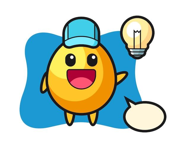 Cartoon uovo d'oro personaggio ottenendo l'idea, design in stile carino