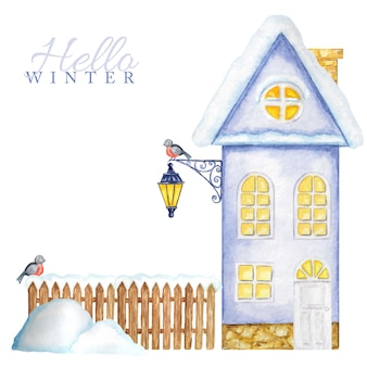 Cartoon winter house con recinzione in legno di neve, lampione luminoso