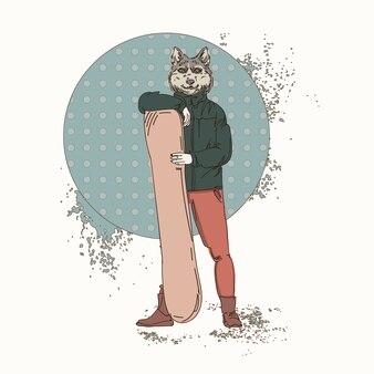 Cartoon wolf hipster