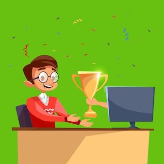 Cartoon worker, sviluppatore o giocatore ha vinto la competizione online e ha ottenuto il premio