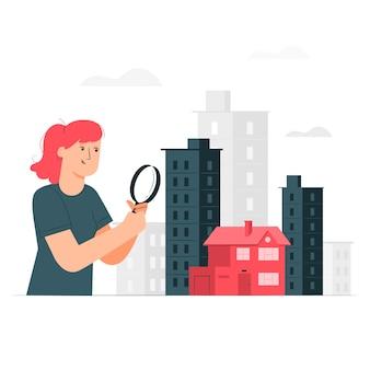 Casa alla ricerca di illustrazione di concetto