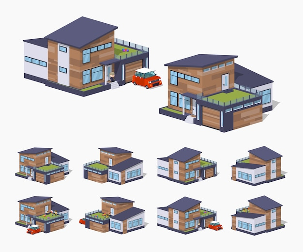 Casa americana contemporanea isometrica lowpoly 3d
