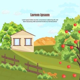 Casa colonica con melo ed erba