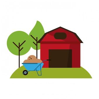 Casa colonica e carriola con terreno