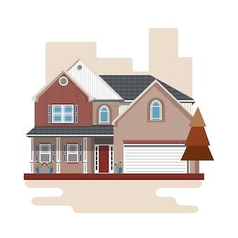 Casa colorata in stile piatto