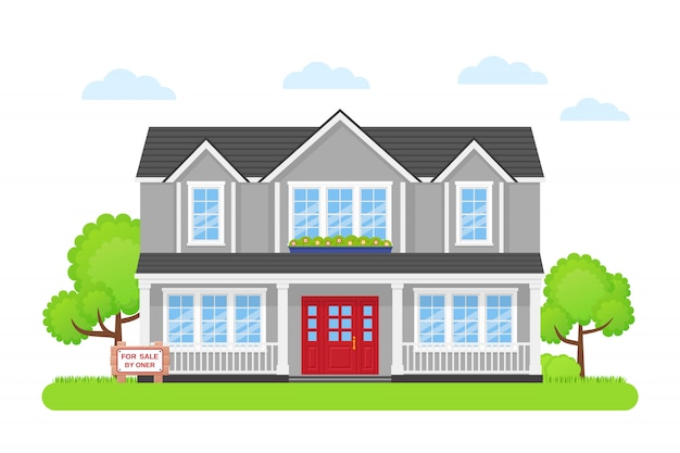 Casa con cartello in vendita,