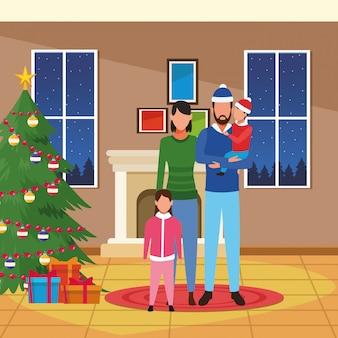 Casa con decorazioni natalizie e famiglia felice