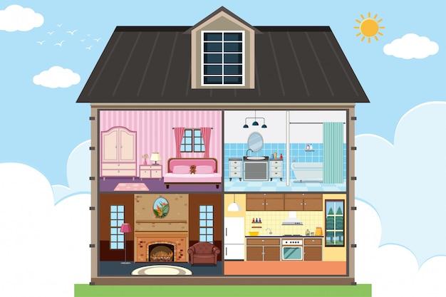 Casa con quattro camere completamente arredate