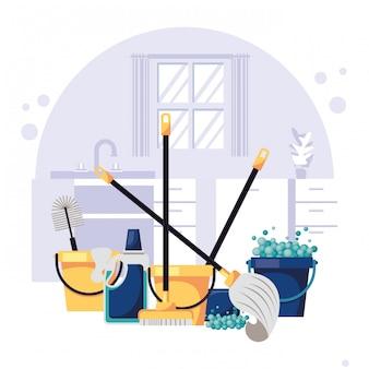 Casa con scena di attrezzature per le pulizie