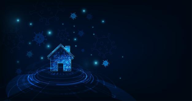 Casa con virus su sfondo di colore blu scuro.