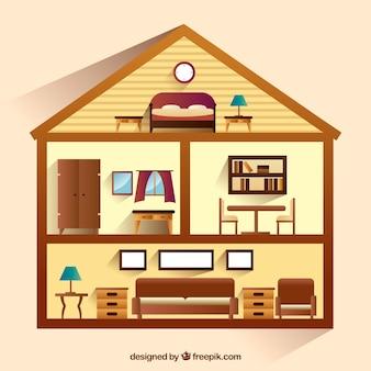 Casa con vista interni in stile realistico