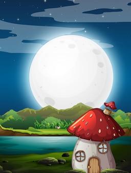 Casa dei funghi di notte