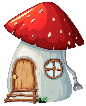 Casa dei funghi su backgroud bianco