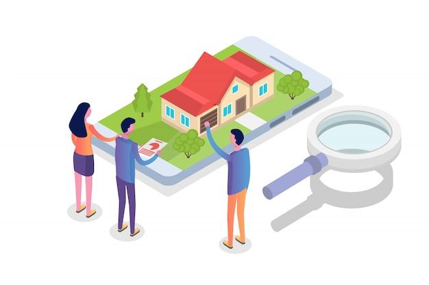 Casa del bene immobile su un concetto isometrico di ricerca della mappa. illustrazione