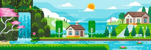 Casa del lago con l'illustrazione della priorità bassa del mare. grafica di stile piano