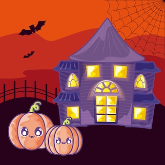 Casa dell'orrore di halloween sulla scena di halloween