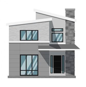 Casa della famiglia isolata su bianco
